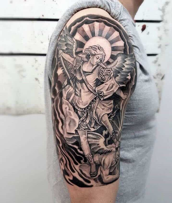 warrior saint michael tattoo on arm