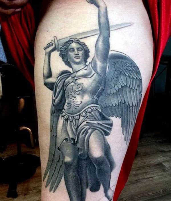 warrior saint michael tattoo on thigh