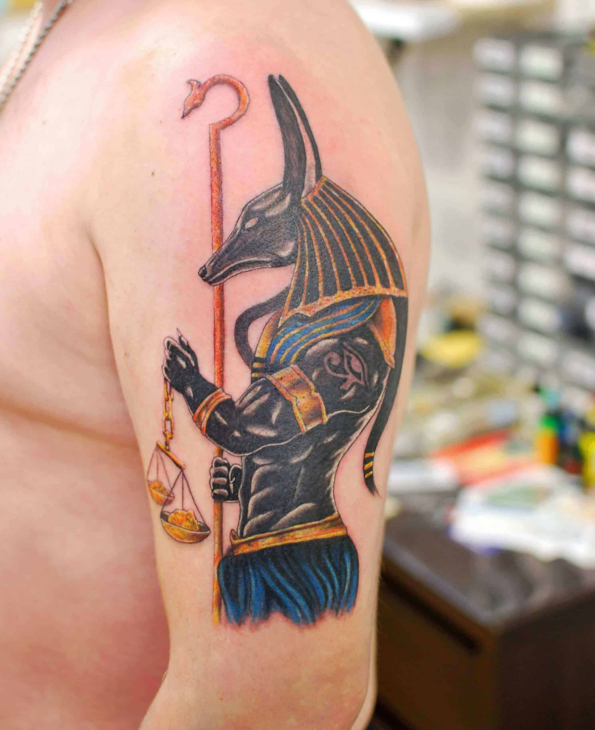 watercolor anubis tattoo