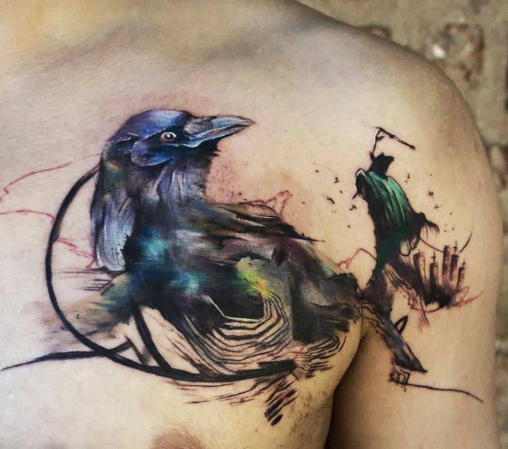 watercolor crow raven tattoo on chest