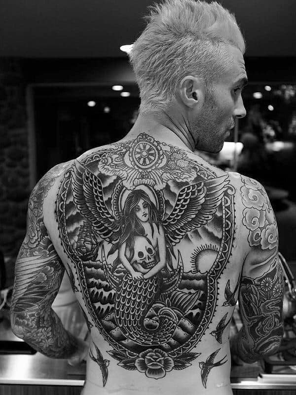 adam levine mermaid holding a skull tattoo