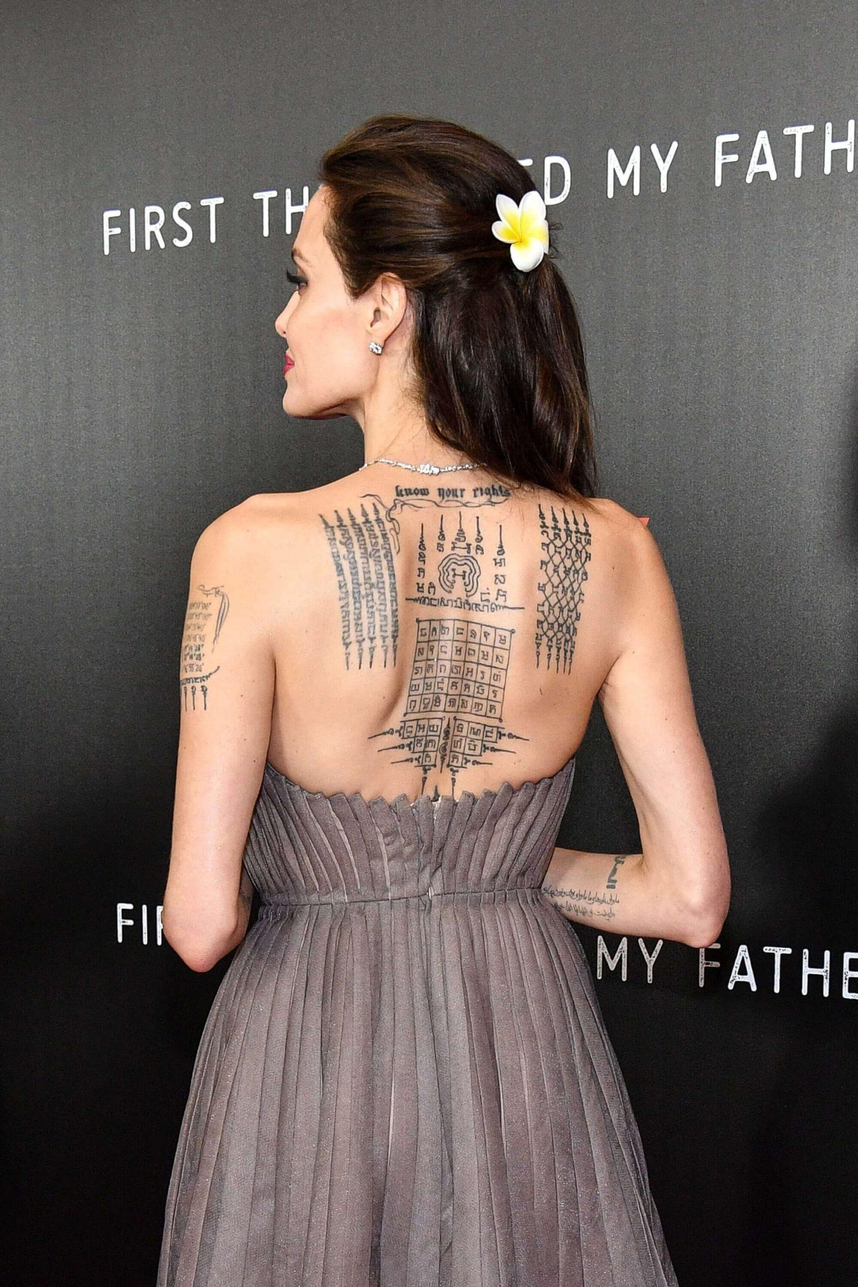 angelina jolie khmer script tattoo