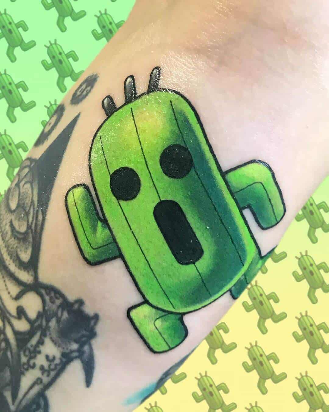 cactuar tattoo on wrist