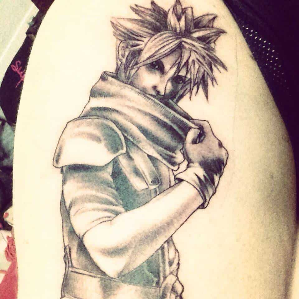 cloud strife tattoo on thigh