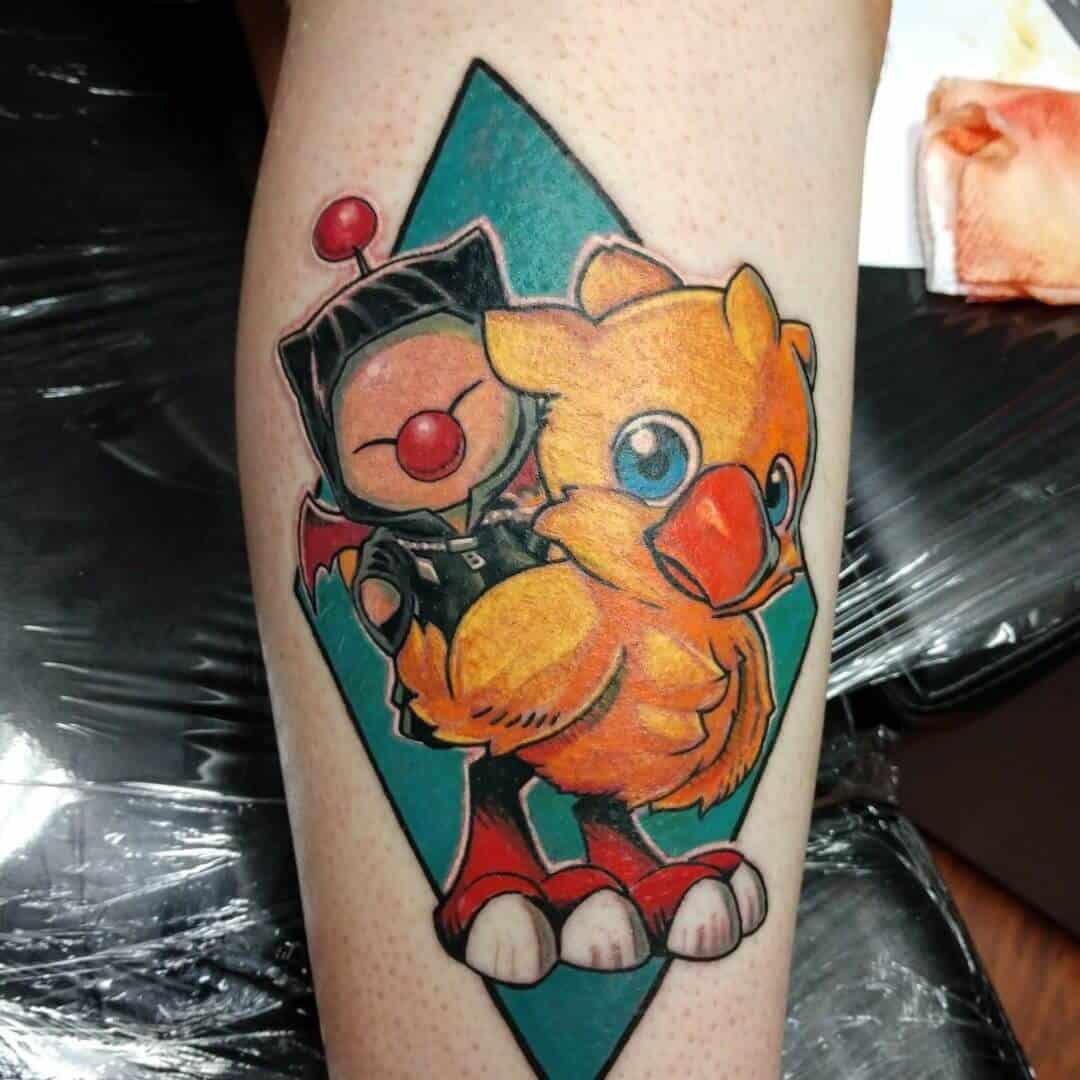 colored chocobo tattoo