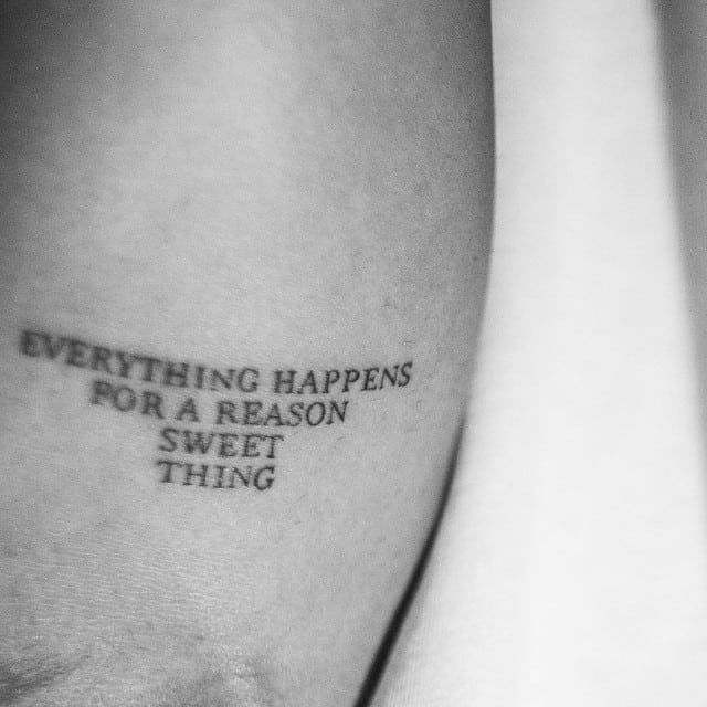 drake everything happens for a reason sweet thing tattoo
