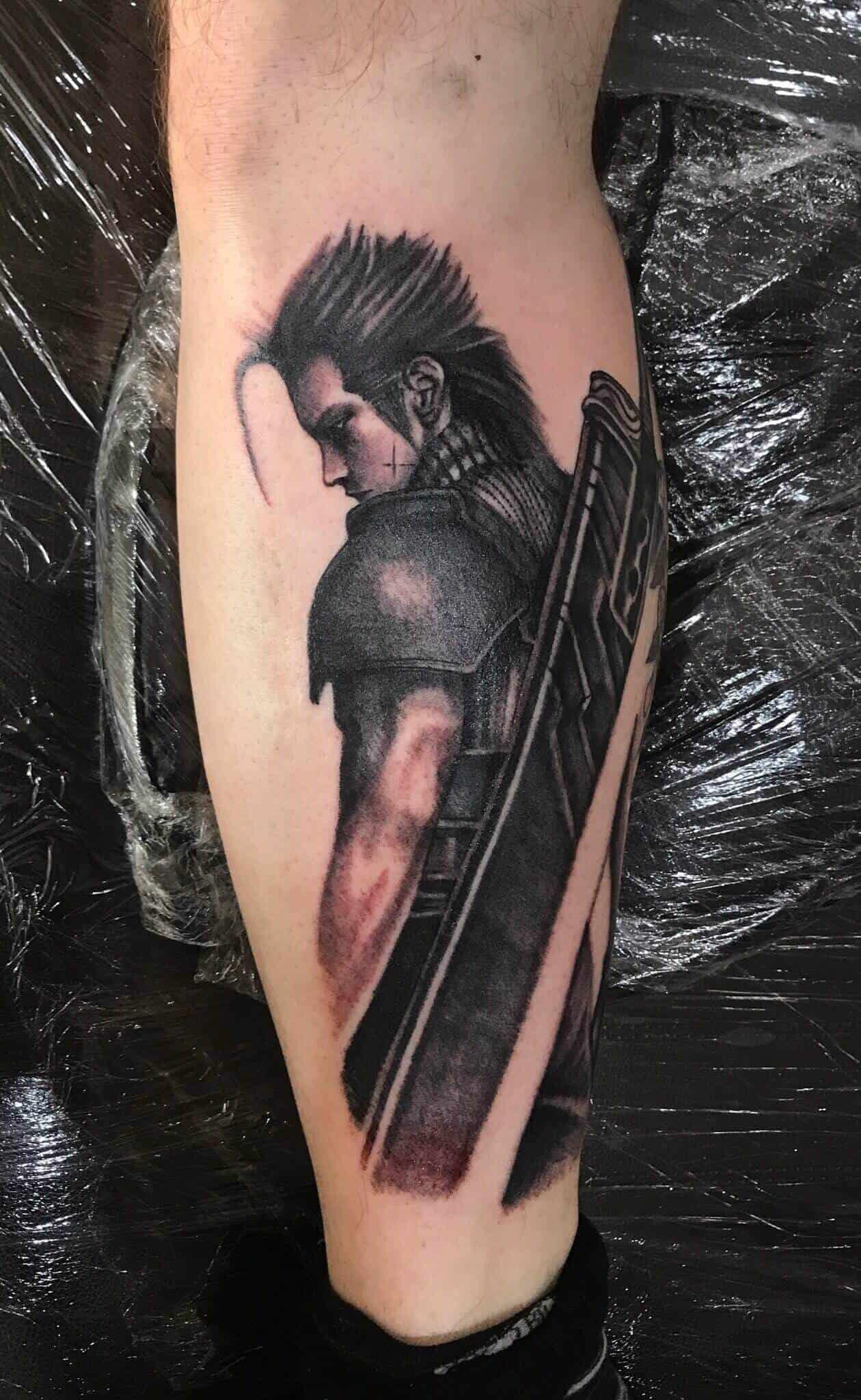 ff7 tattoo on leg