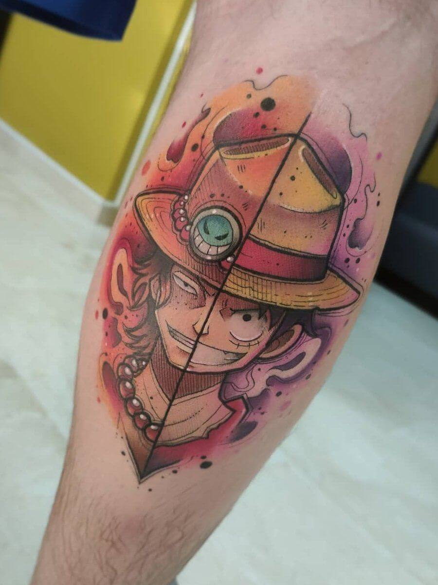 luffy tattoo on leg