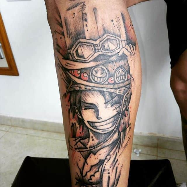 luffy tattoo leg