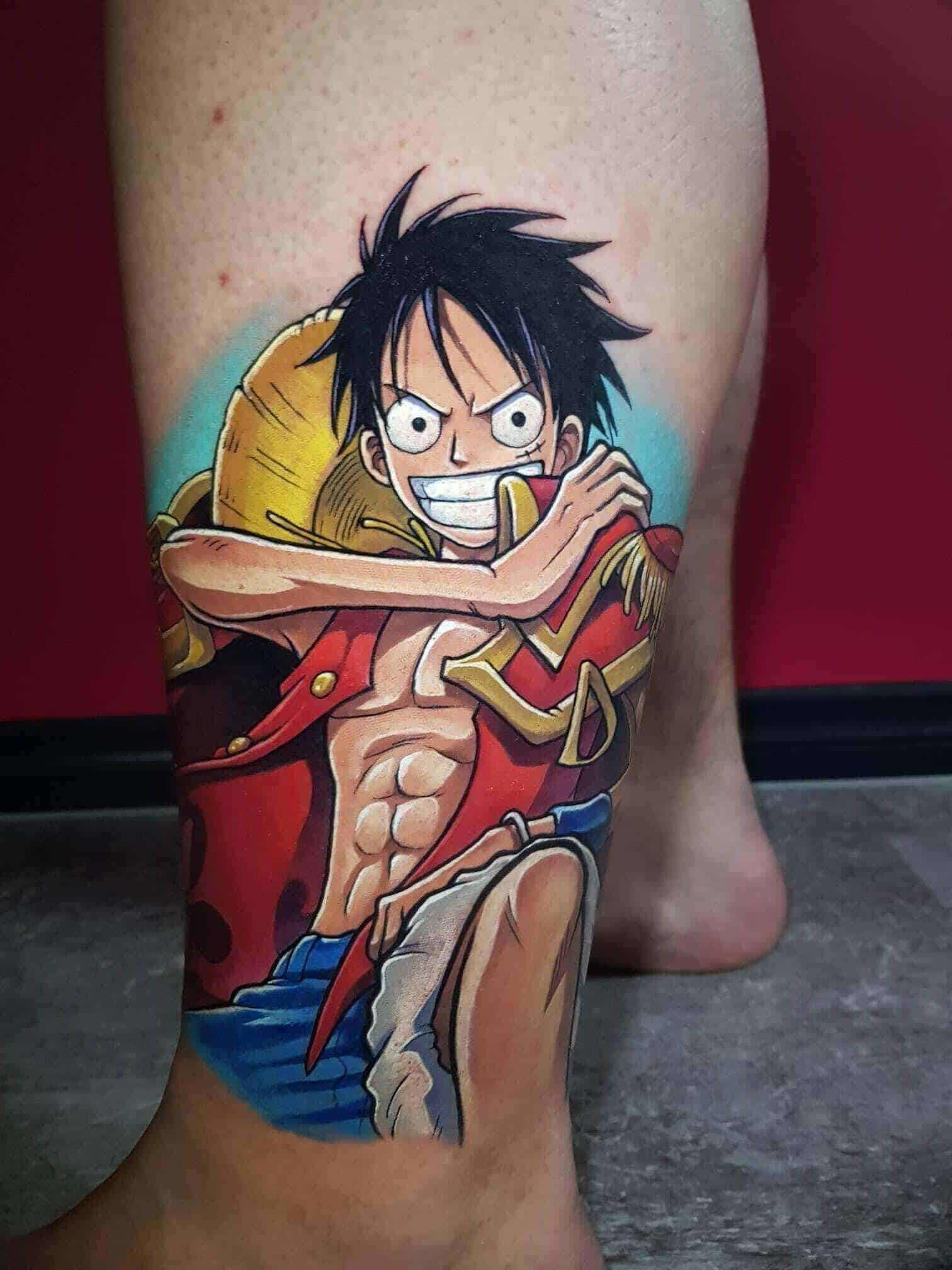 luffy leg tattoo
