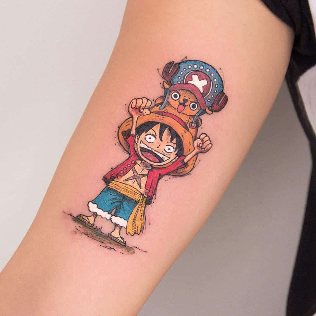 one piece tattoo on arm