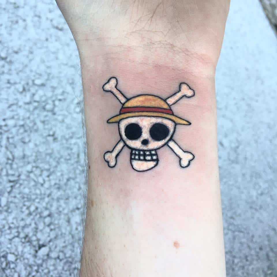 one piece skull tattoo on wrist