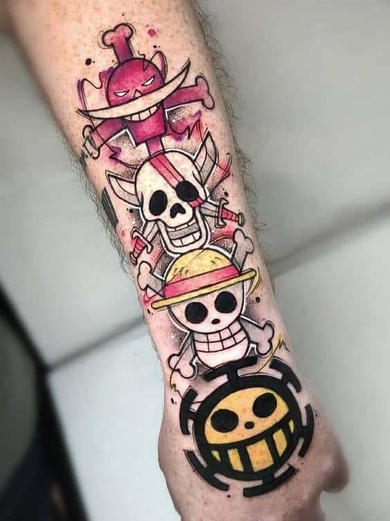 colored one piece skull tattoo