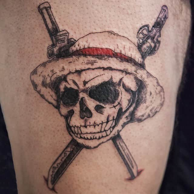 one piece skull tattoo