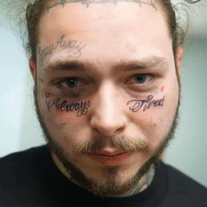 post malone always tired tattoo