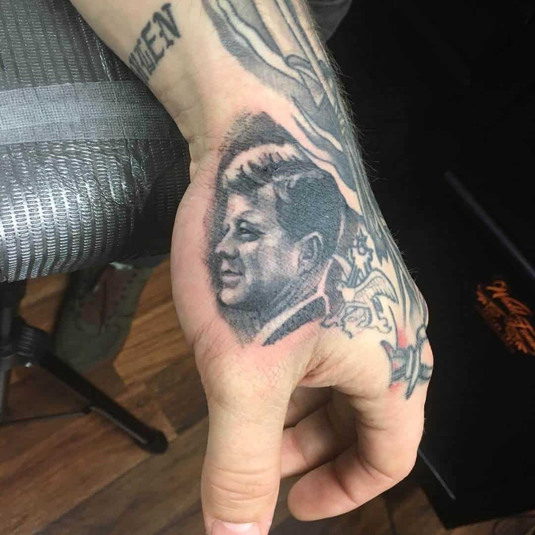 post malone jfk portrait tattoo
