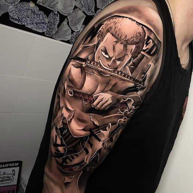 roronoa zoro sleeve tattoo