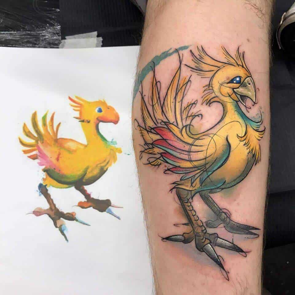 watercolor chocobo tattoo