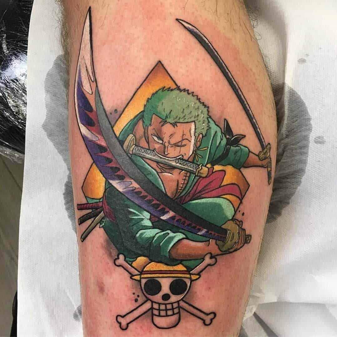 zoro tattoo on leg